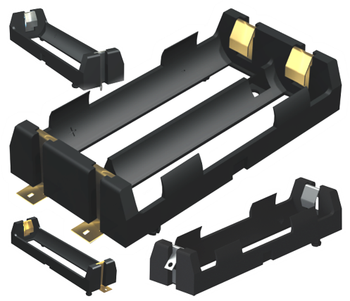 Li-ion 18650 Holders Include Polarized Versions