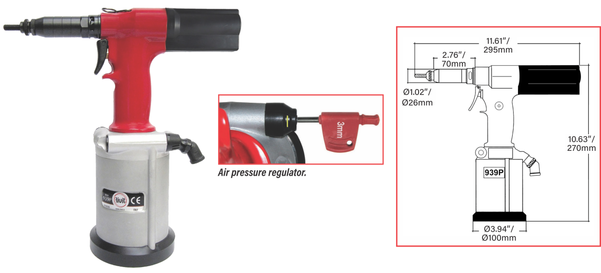 ATLAS® RIV939P POWERFUL PULL-TO-PRESSURE TOOL FOR RIVET NUTS UP TO M12